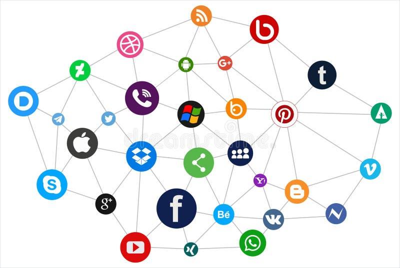 Rede social dos ícones dos meios ilustração do vetor