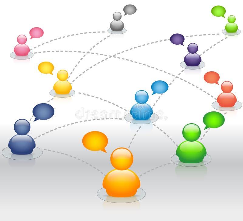 Rede social dos media com bolhas do discurso ilustração royalty free