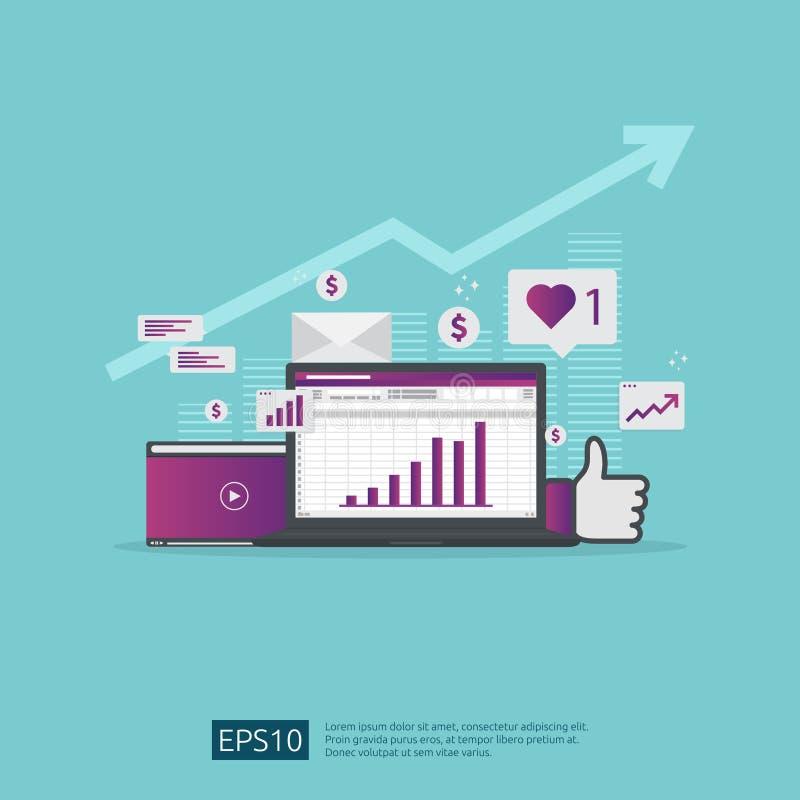 Rede social dos meios e conceito de mercado digital para o cartaz, página da web, bandeira, apresentação análise da audiência do  ilustração royalty free