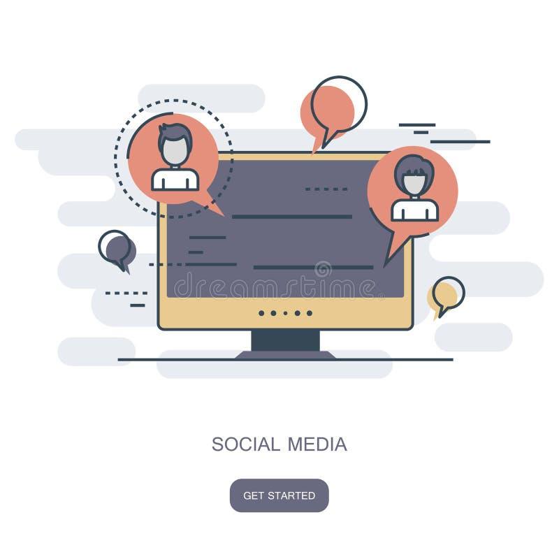 Rede social e ícone de conversa Uma comunicação global, enviamento de e, Web chama Parte superior do regaço com bolhas do discurs ilustração royalty free