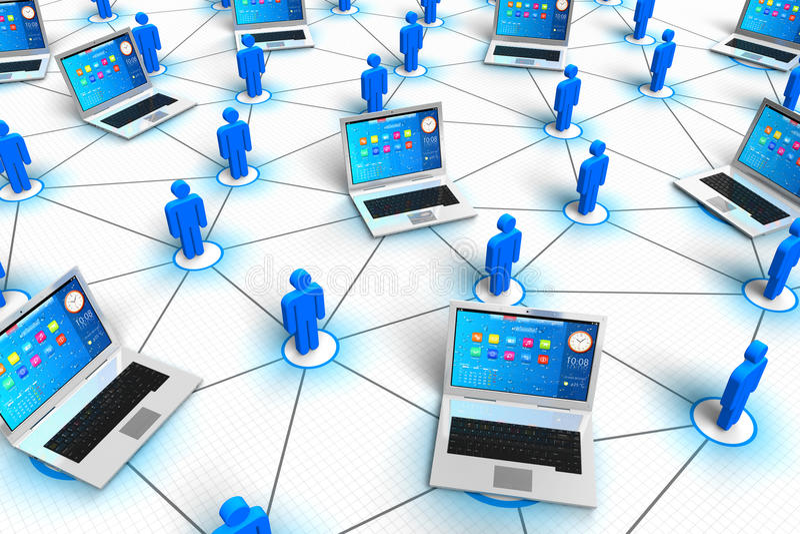 Rede social e conceito móvel dos media ilustração royalty free