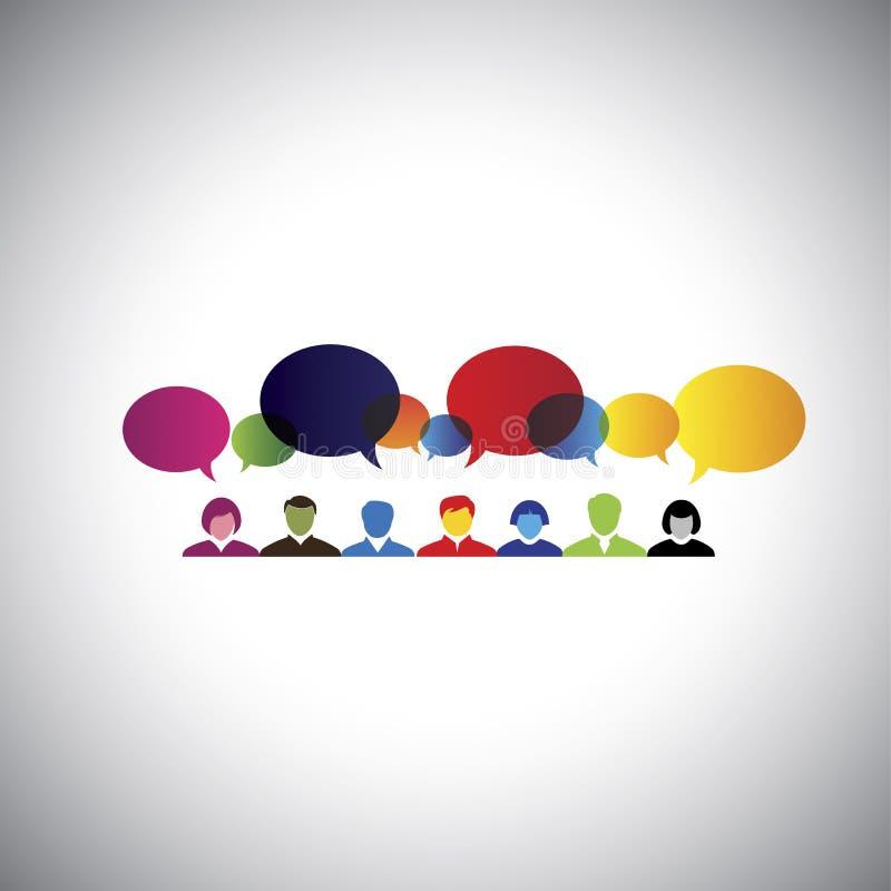Rede social em linha dos povos que falam, conversando - vect do conceito ilustração do vetor