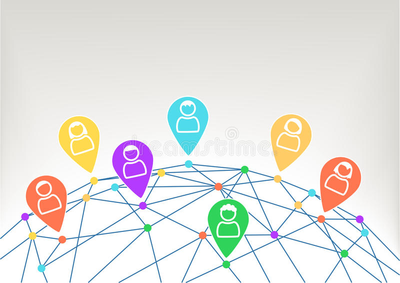 Rede social global entre pessoas diferentes Mundo com wireframe ilustração royalty free