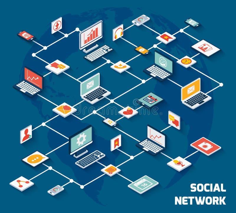 Rede social isométrica ilustração royalty free