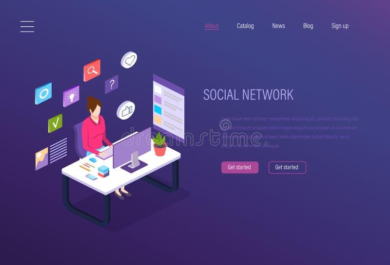 Rede social, mercado social dos meios, analítica do negócio, comunicações em linha digitais ilustração stock