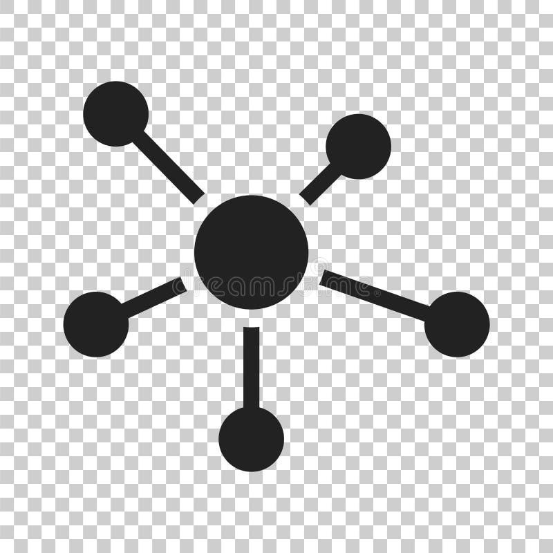 Rede social, molécula, ícone do ADN no estilo liso Illustr do vetor ilustração royalty free