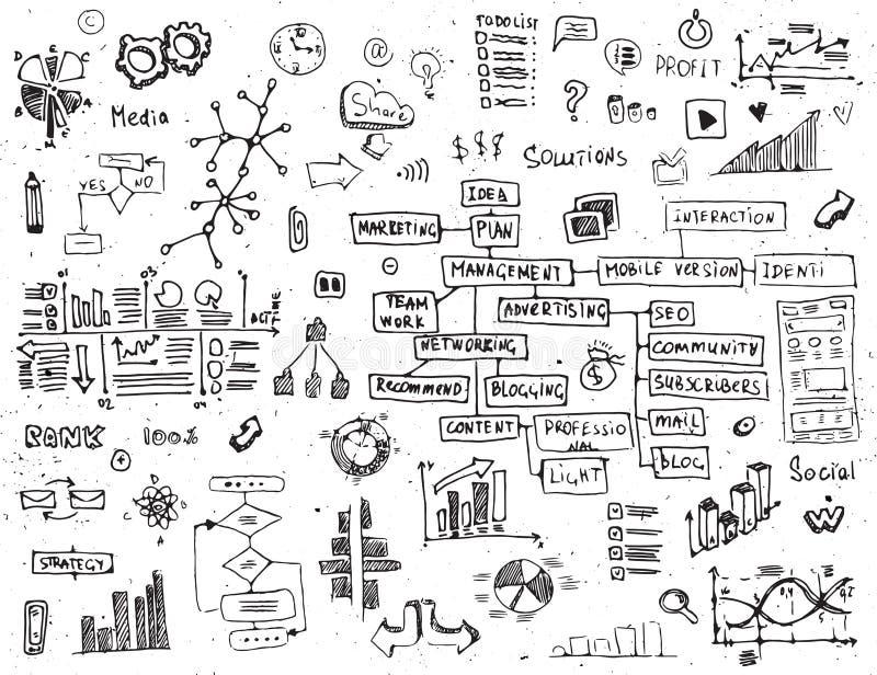 A rede social rabisca - o grupo tirado mão de elementos dos meios ilustração royalty free