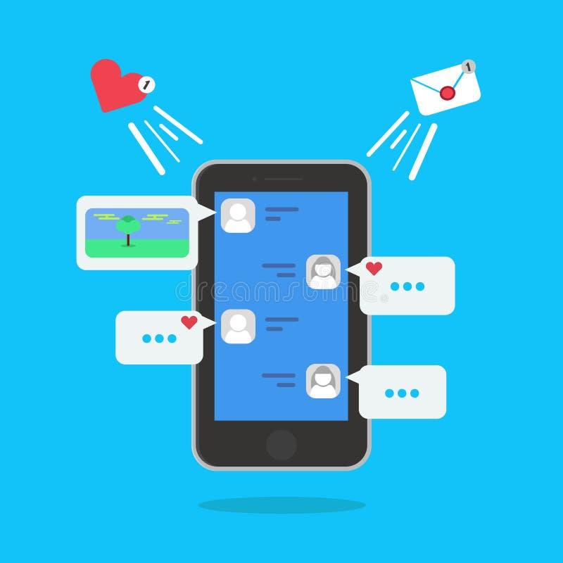 Rede sprudelt für Kommentare und Antwortkonzept im Smartphone Vektor-Illustration mit Mitteilung und wie Ikonen lizenzfreie abbildung