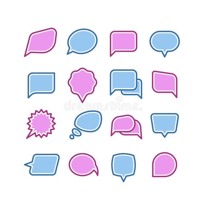 Rede sprudelt, Gespräch, Chattextdialogikonen-Vektorsatz stock abbildung