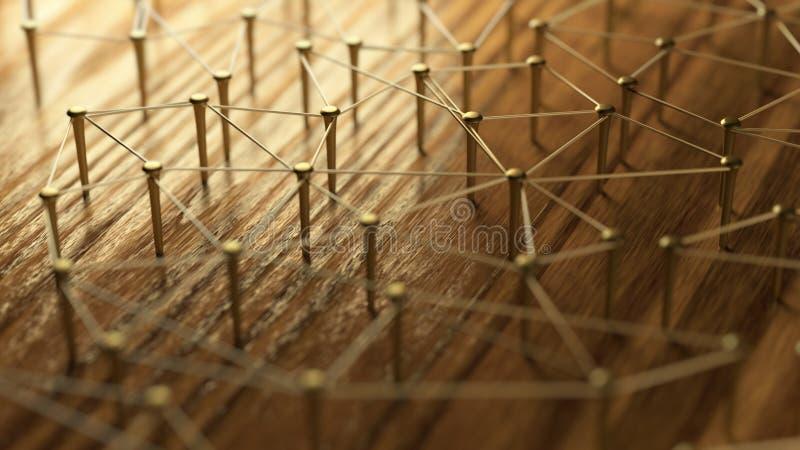 A rede, trabalhos em rede, conecta, prende Ligando entidades Rede de fios do ouro na madeira rústica imagem de stock royalty free