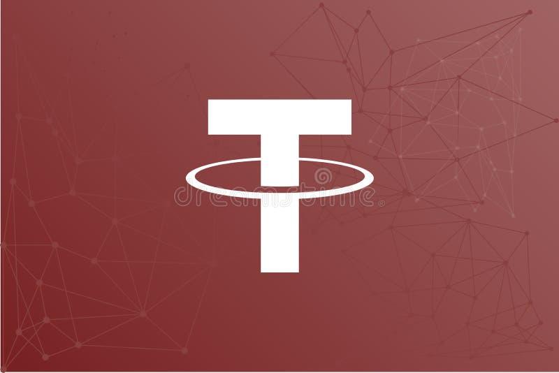 Rede vermelha do ícone do cryptocurrency do baraço USDT ilustração do vetor