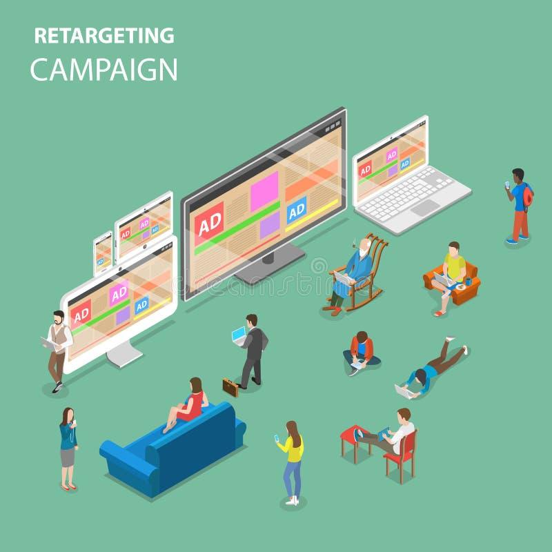 Redefinir concepto isométrico plano del vector de la campaña libre illustration