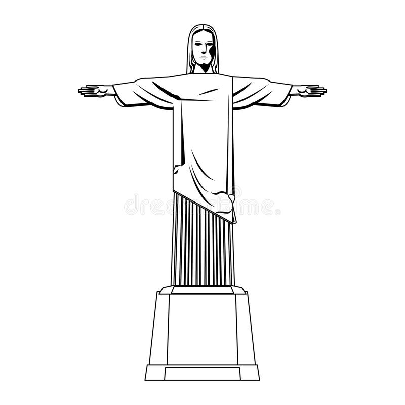Redemeer christ brazil monument isolated in black and white. Redemeer christ brazil monument isolated vector illustration graphic design stock illustration