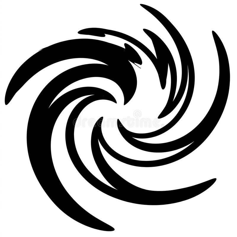 Redemoinho abstrato do preto do furacão ilustração stock