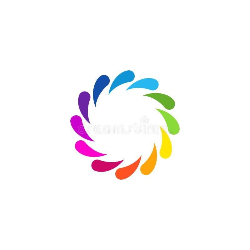 Redemoinho circular abstrato colorido original Logo Round Shape ilustração stock
