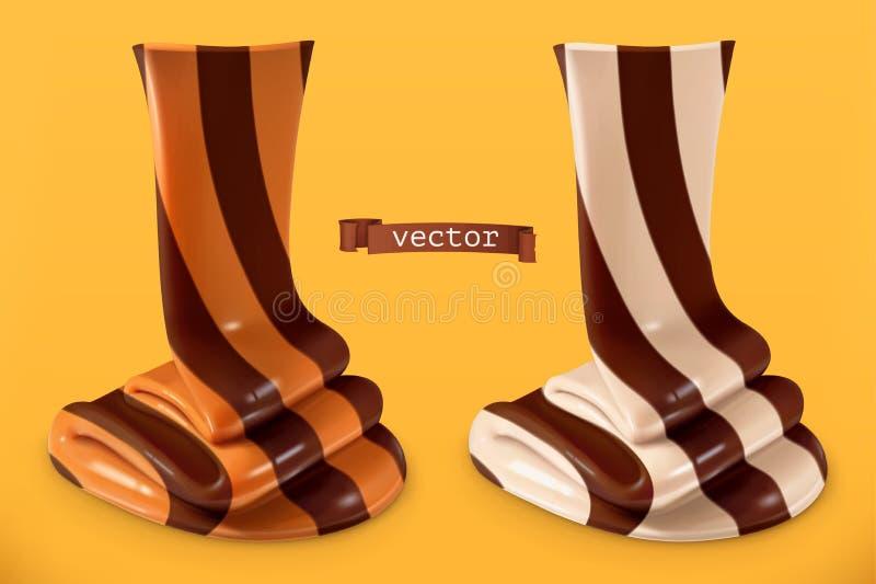 Redemoinho do chocolate, propagação do duo ícone realístico do vetor 3d ilustração royalty free
