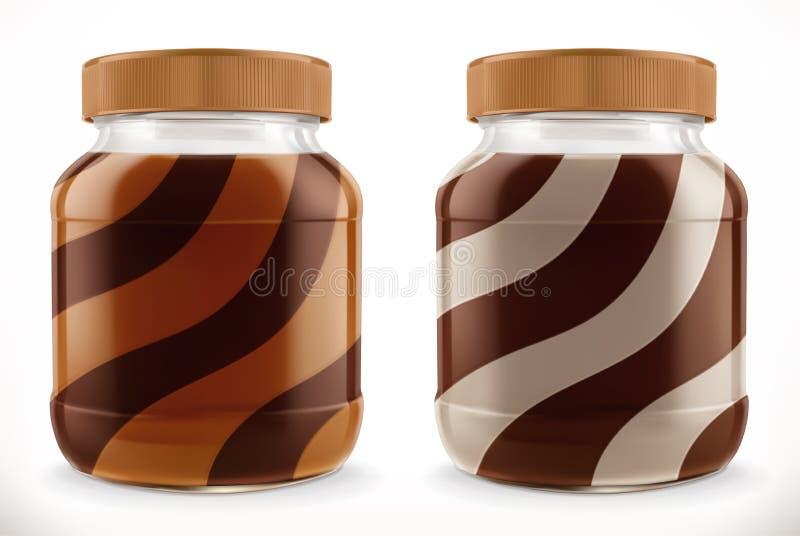 Redemoinho do chocolate, propagação do duo no frasco de vidro modelo realístico do vetor 3d ilustração royalty free