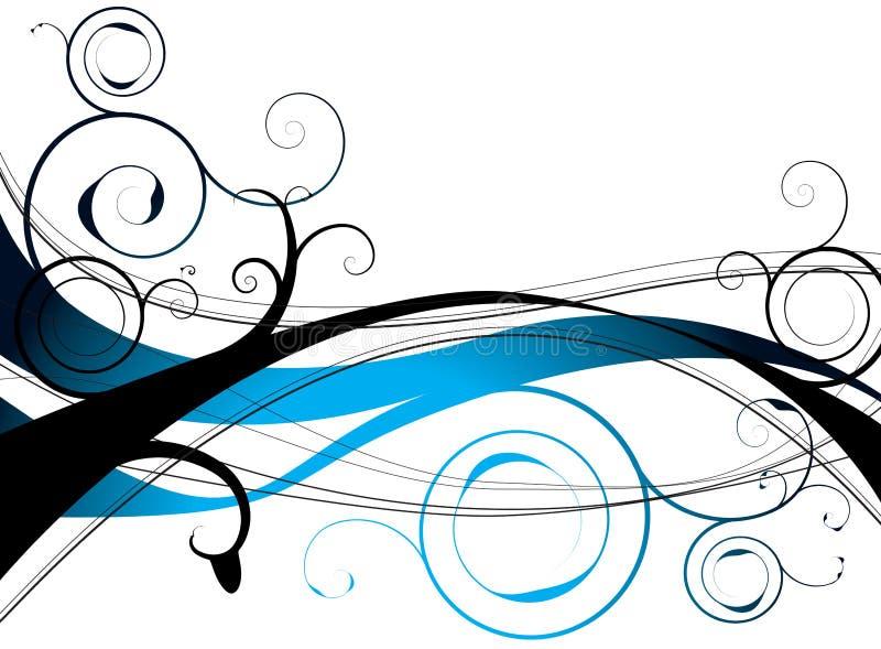 Redemoinho floral azul ilustração stock