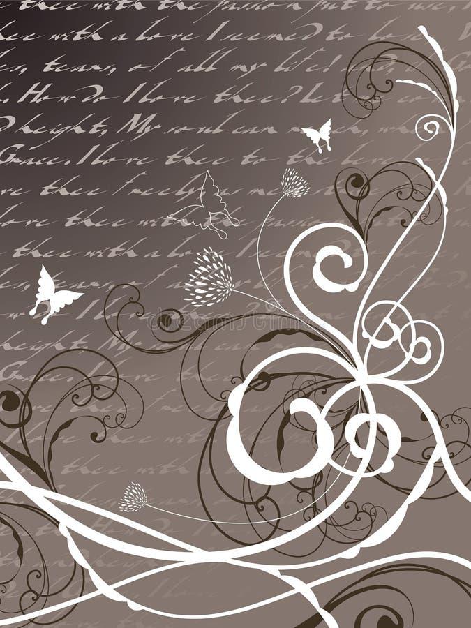 Redemoinho floral da borboleta da poesia ilustração do vetor