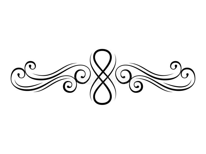 Redemoinho floral Elementos decorativos caligráficos Divisor da página, beira Estilo do flourish do vintage Ornamento Vetor ilustração stock