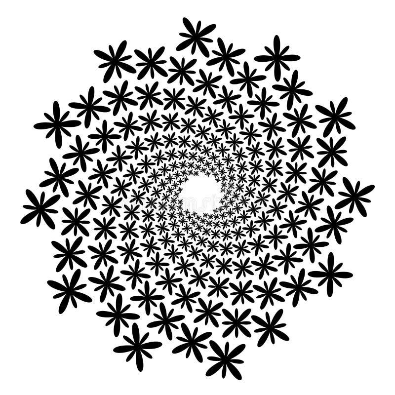 Redemoinho, fundo do redemoinho Espiral de giro Ícone, flor, pétalas, esboço, preto, branco ilustração royalty free