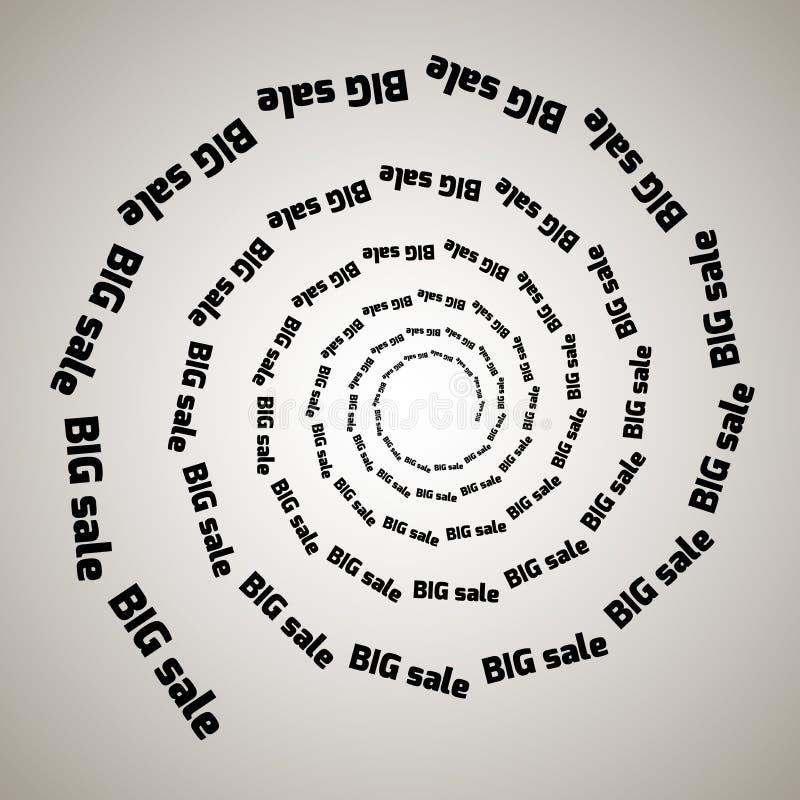 Redemoinho, fundo do redemoinho Espiral de giro Palavra, texto, venda, negócio, comércio, discontos ilustração do vetor