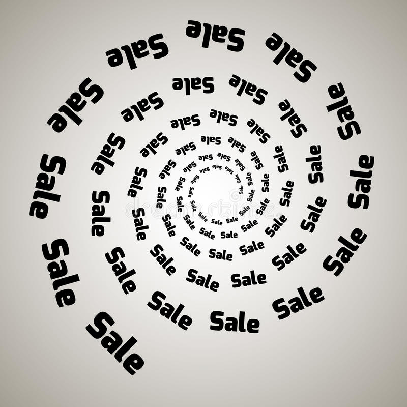 Redemoinho, fundo do redemoinho Espiral de giro Palavra, texto, venda, negócio, comércio, discontos ilustração royalty free