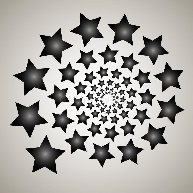 Redemoinho, fundo do redemoinho Espiral de giro Teste padrão de girar dos corações Ícone, estrelas, estrela, esboço, preto, branc ilustração do vetor