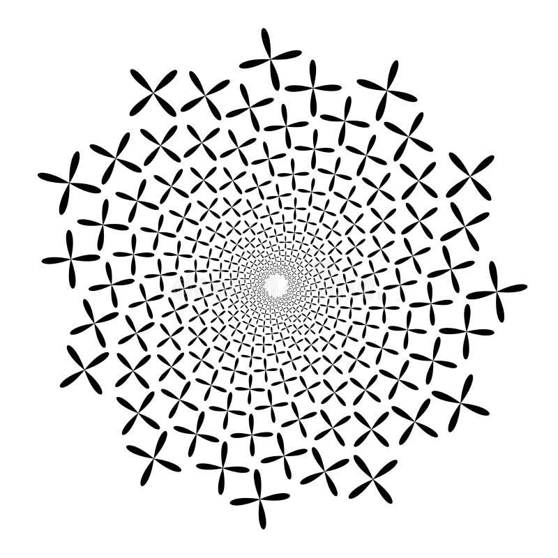 Redemoinho, fundo do redemoinho Espiral de giro Teste padrão de girar dos corações Ícone, flor, pétalas, esboço, preto, branco ilustração royalty free
