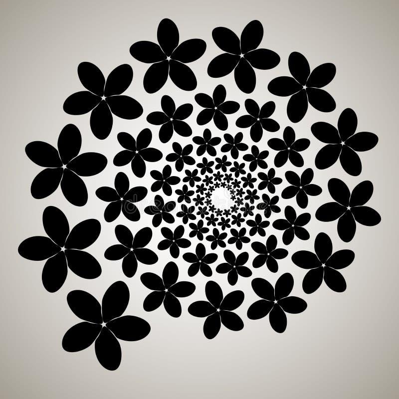 Redemoinho, fundo do redemoinho Espiral de giro Teste padrão de girar dos corações Ícone, flor, pétalas, esboço, preto, branco ilustração do vetor