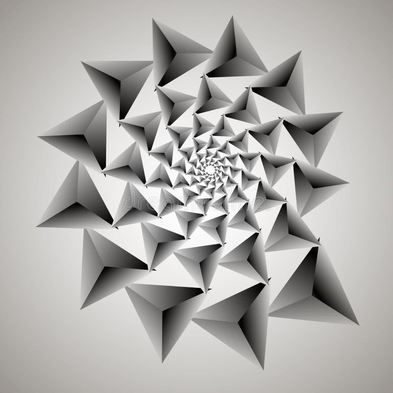 Redemoinho, fundo do redemoinho Espiral de giro Teste padrão de girar dos corações Triângulo, inclinação, silhueta ilustração royalty free