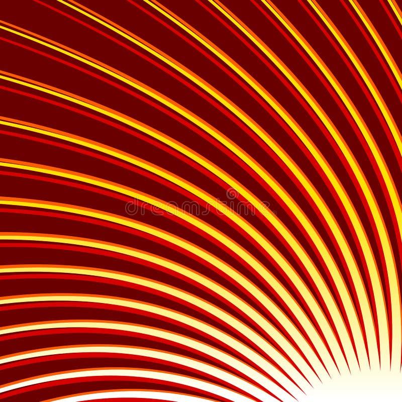 Redemoinho, fundo tricolor da espiral Linhas de giro finas radiais ilustração stock