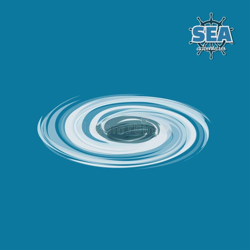 Redemoinho na água no estilo isométrico Jogo do pirata imagem 3d do fenômeno do mar ilustração royalty free