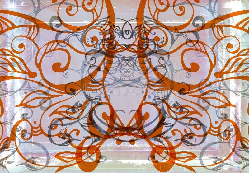 Redemoinhos da cor-de-rosa e da laranja de Grunge ilustração do vetor