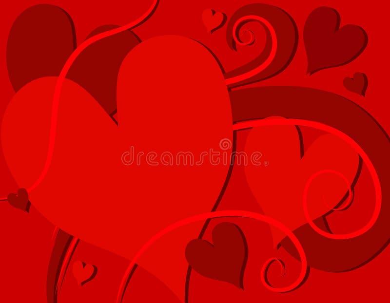 Redemoinhos dos corações do dia do Valentim vermelho brilhante ilustração stock