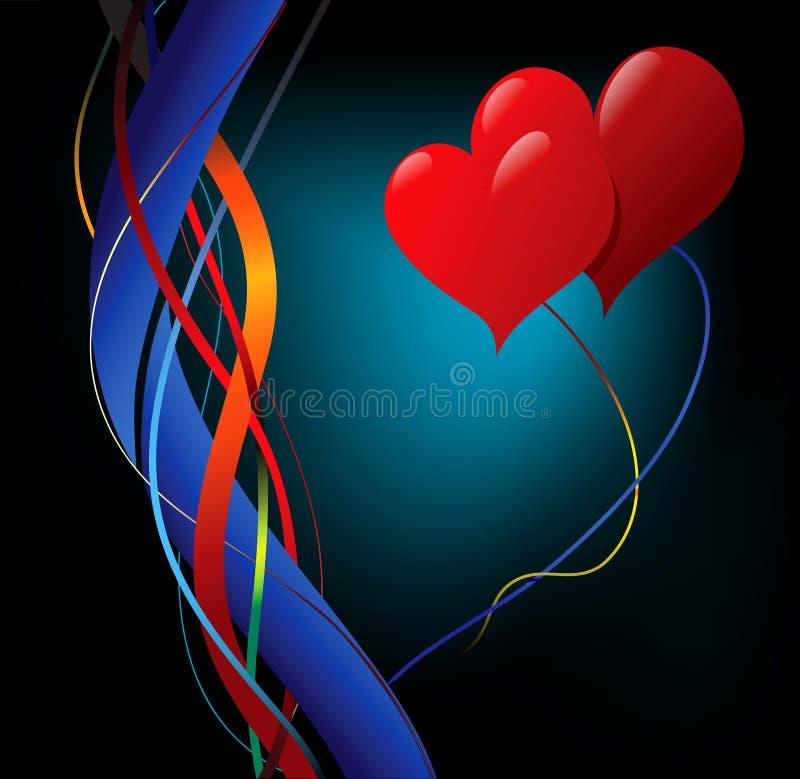 Redemoinhos e corações ilustração do vetor