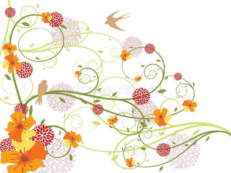 Redemoinhos florais amarelos e andorinhas da mola ilustração do vetor