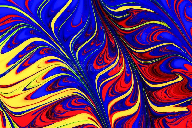 Redemoinhos vermelhos, amarelos e azuis abstratos da pintura ilustração do vetor