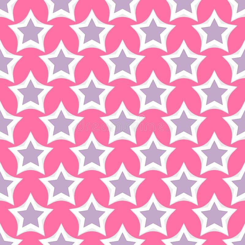 Reden Sie Sternvektorillustration des Formschattenbildes Muster-Rosahintergrund der glänzenden nahtlosen an lizenzfreie abbildung