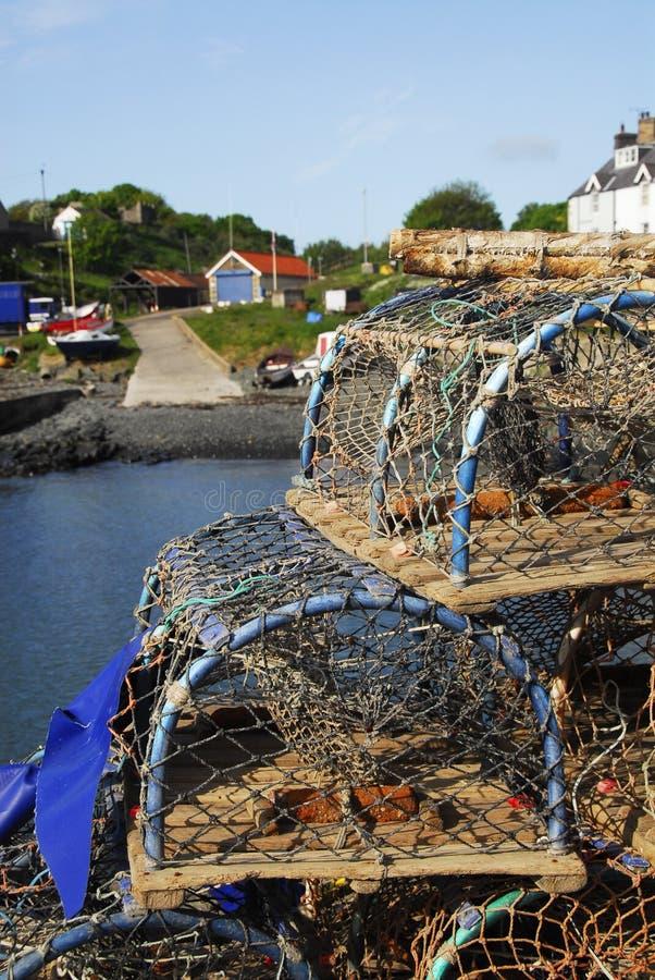 Redes de pesca & porto de Craster fotos de stock royalty free