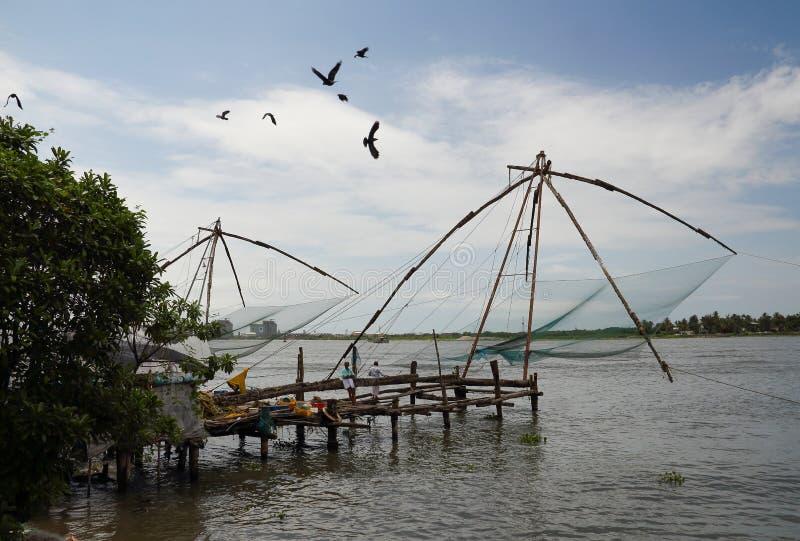 Redes de pesca chinas en Cochin (Kochin) de la India fotos de archivo libres de regalías