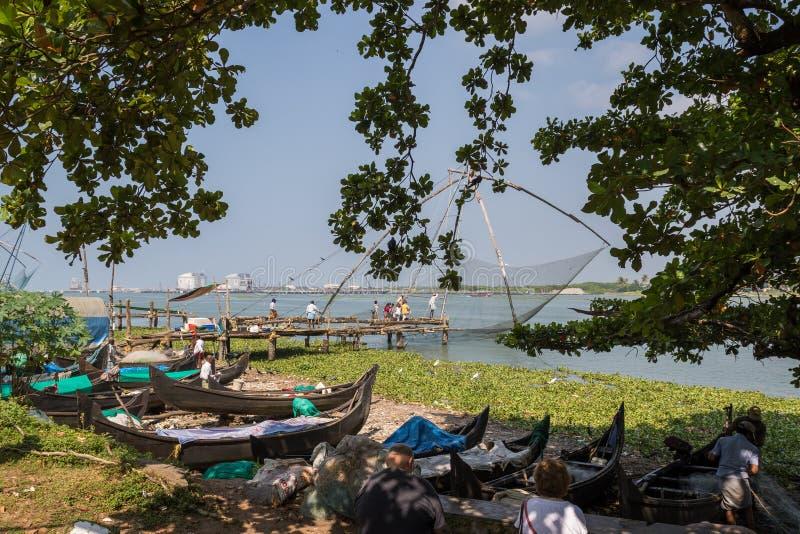 Redes de pesca chinas, fuerte Kochi, la India foto de archivo libre de regalías