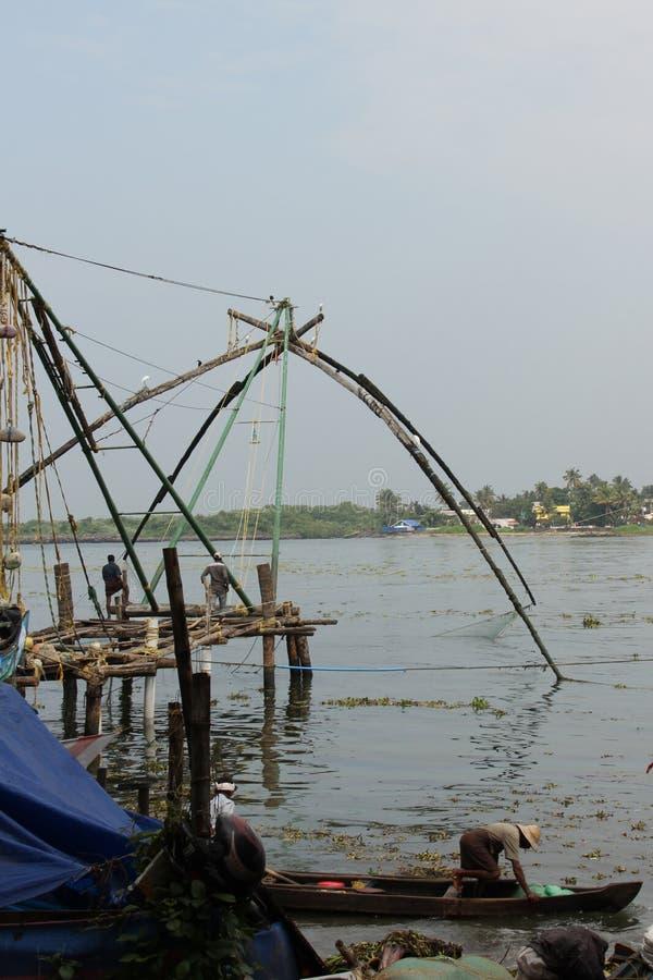 Redes de pesca chinas de Kochi foto de archivo
