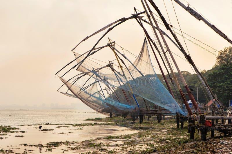 Redes de pesca chinesas no forte Kochi fotografia de stock royalty free