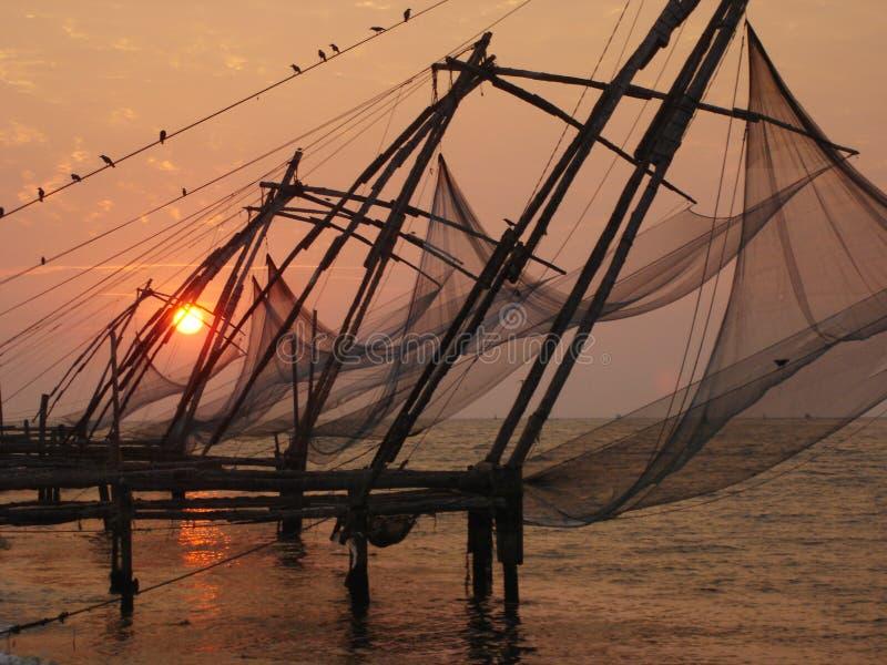Redes de pesca de Cochin imágenes de archivo libres de regalías