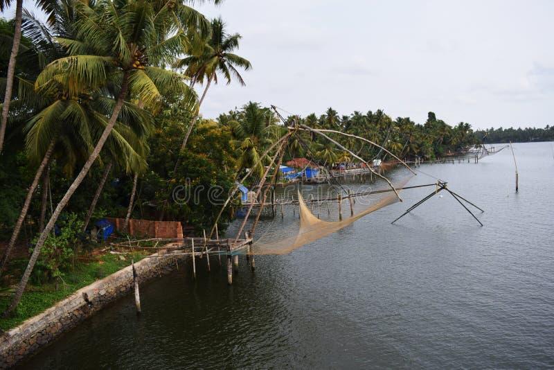 Redes de pesca em Kerala imagens de stock