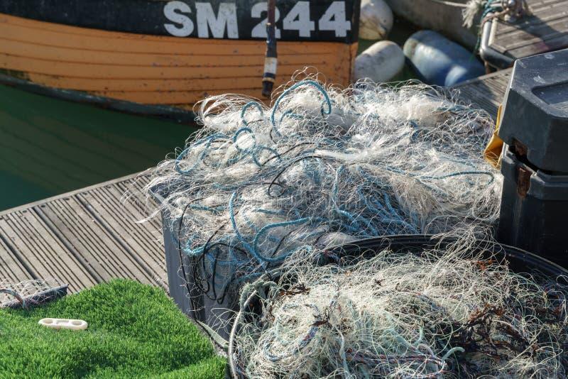 Redes de pesca en el puerto deportivo en Brighton Sussex el 8 de enero de 2019 imagen de archivo