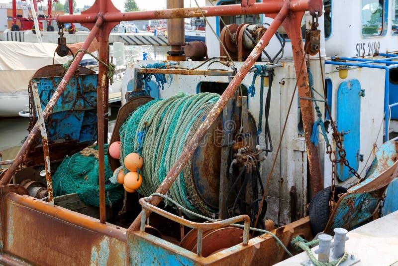 Redes de pesca rodadas para arriba en un tambor foto de archivo libre de regalías