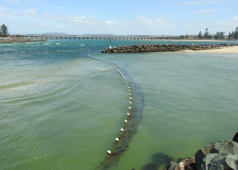 Redes del tiburón que protegen una playa foto de archivo libre de regalías