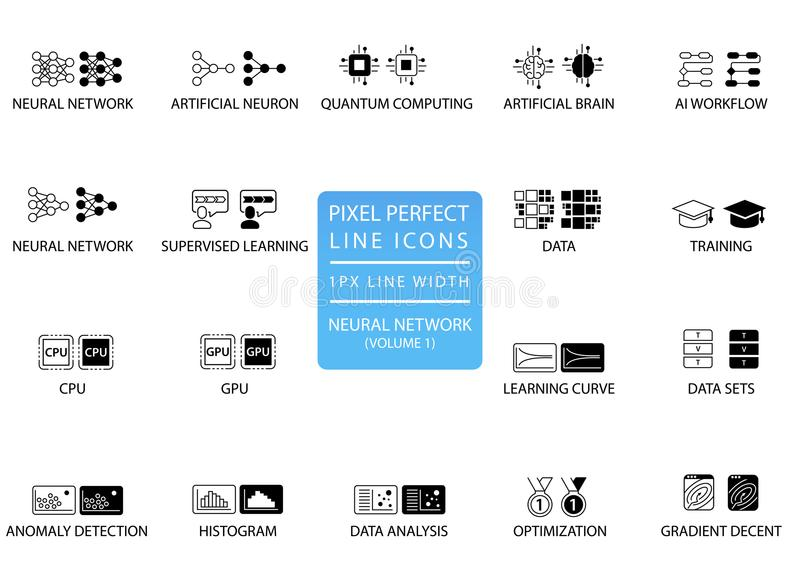 Redes neurais e grupo de aprendizagem profundo do ícone do vetor aperfeiçoados para o uso da Web ilustração do vetor